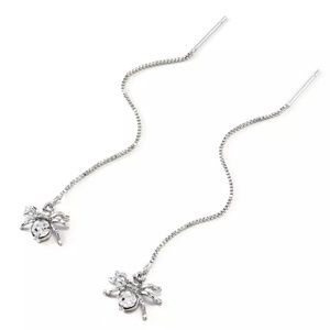 🎉 New Silver Crystal Spider Dangle Earrings